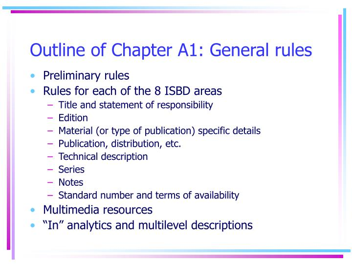 Outline of Chapter A1: General rules