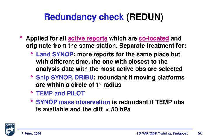 Redundancy check