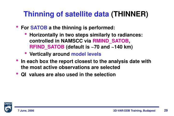 Thinning of satellite data