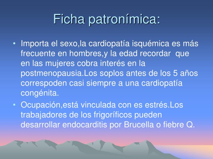 Ficha patronímica: