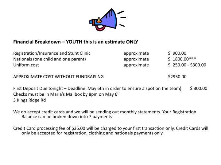 Financial Breakdown – YOUTH this is an estimate ONLY
