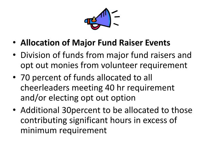 Allocation of Major Fund Raiser Events