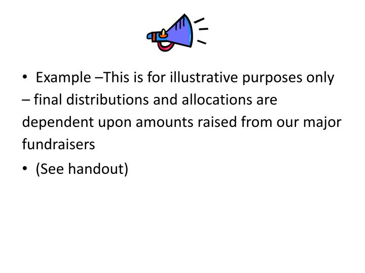 Example –This is for illustrative purposes only – final distributions and allocations are dependent upon amounts raised from our major fundraisers