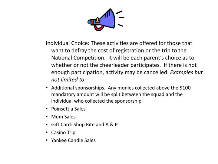 Individual Choice: These activities are offered for those that want to defray the cost of registration or the trip to the National Competition.  It will be each parent's choice as to whether or not the cheerleader participates.  If there is not enough participation, activity may be cancelled.
