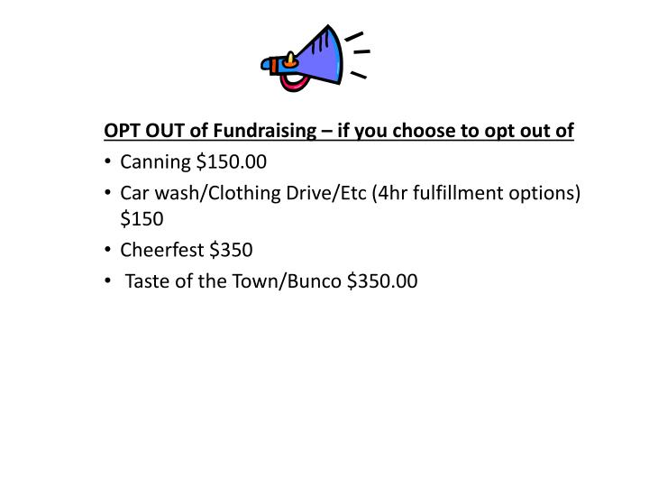OPT OUT of Fundraising – if you choose to opt out of