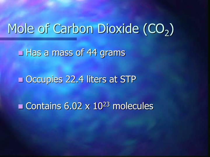 Mole of Carbon Dioxide (CO