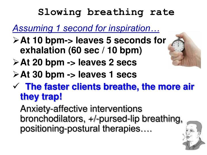 Slowing breathing rate