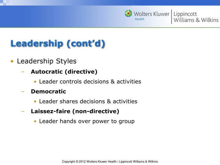 Leadership (cont