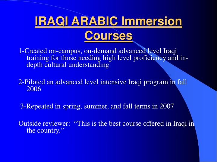 IRAQI ARABIC Immersion Courses