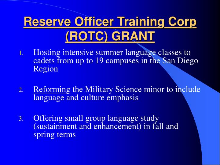 Reserve Officer Training Corp (ROTC) GRANT