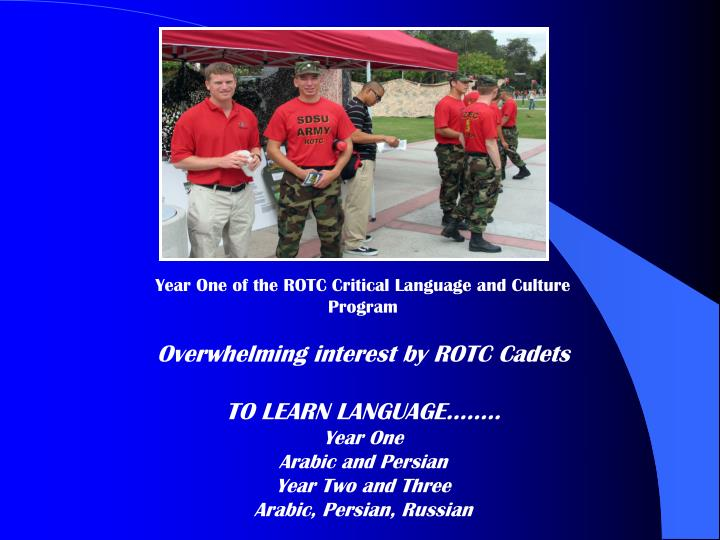 Year One of the ROTC Critical Language and Culture Program