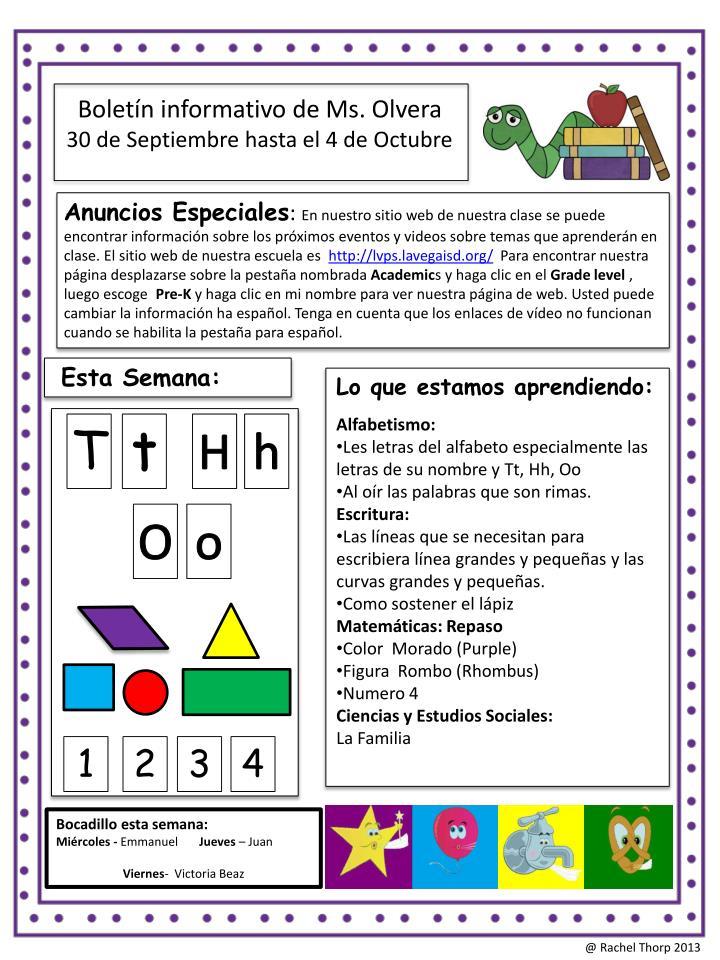 Boletín informativo de Ms. Olvera