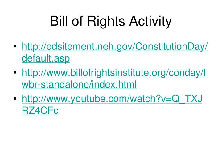 Bill of Rights Activity