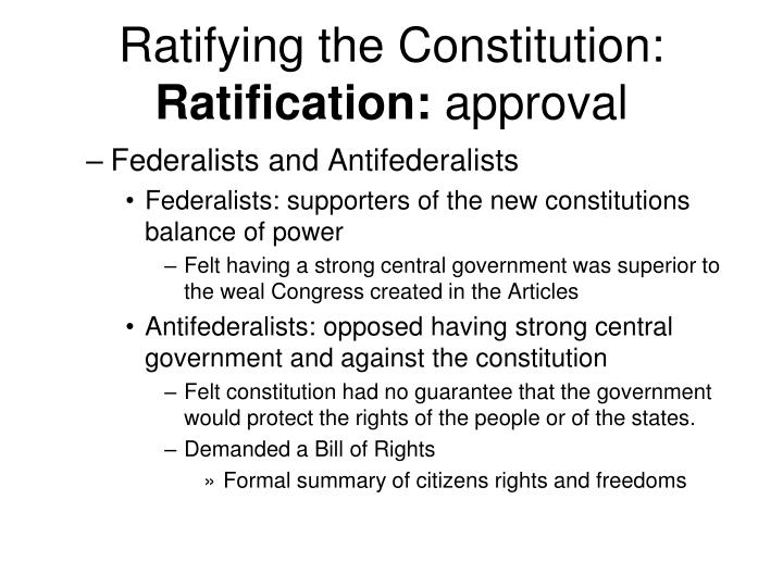 Ratifying the Constitution: