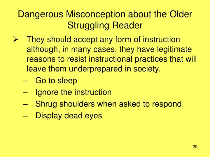 Dangerous Misconception about the Older Struggling Reader