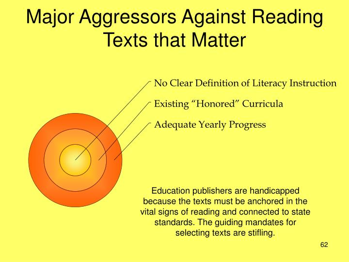 Major Aggressors Against Reading Texts that Matter
