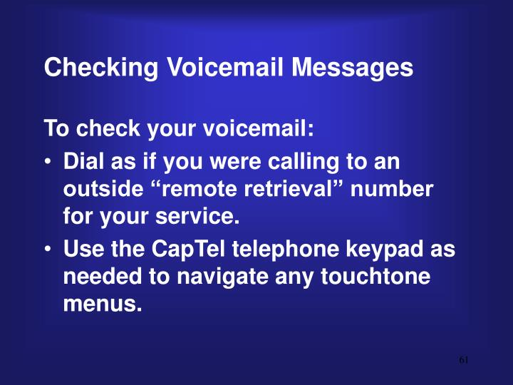 Checking Voicemail Messages