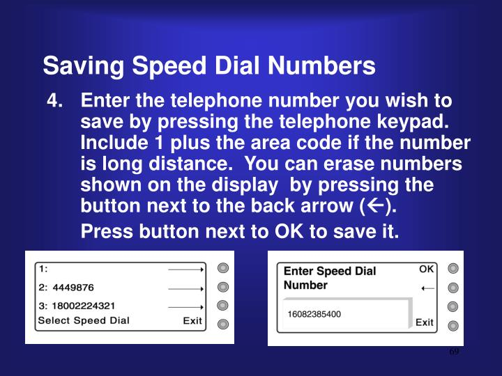 Saving Speed Dial Numbers