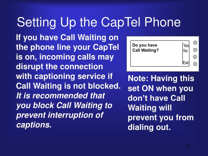 Setting Up the CapTel Phone