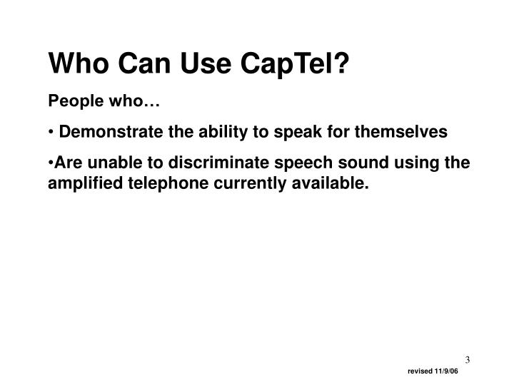 Who Can Use CapTel?