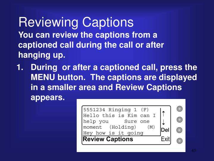 Reviewing Captions