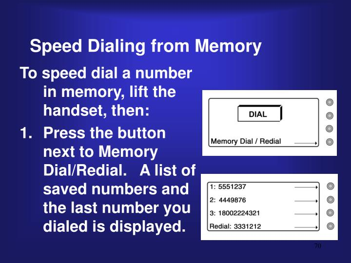 Speed Dialing from Memory