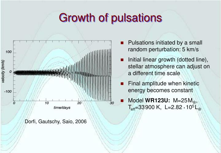 Growth of pulsations