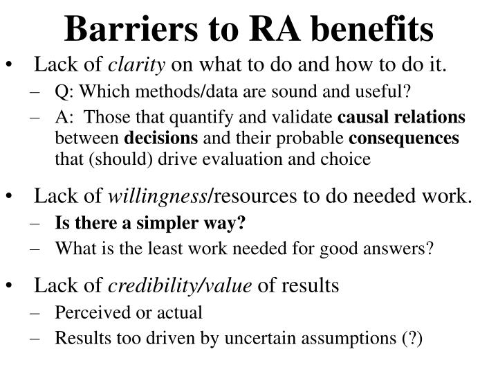 Barriers to RA benefits
