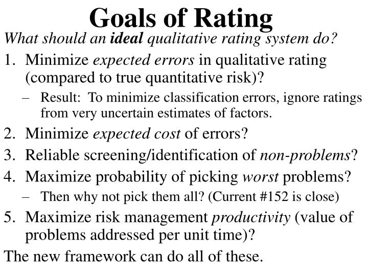 Goals of Rating