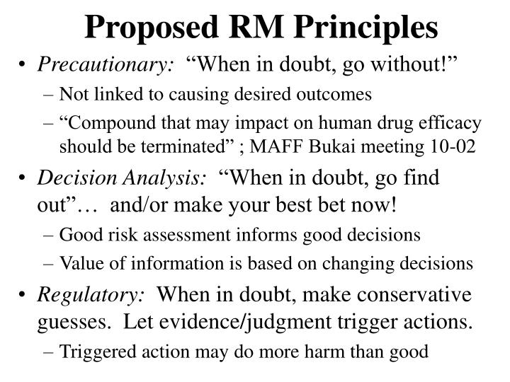 Proposed RM Principles