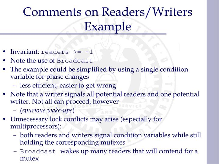Comments on Readers/Writers Example