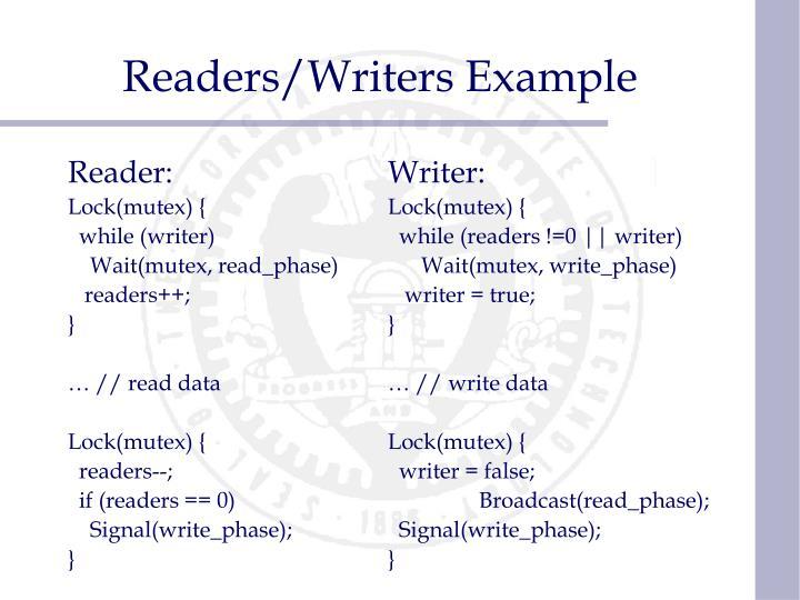 Readers/Writers Example