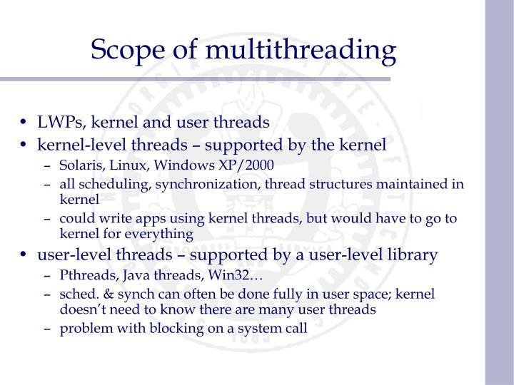 Scope of multithreading