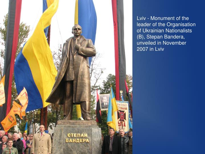 Lviv - Monument of the leader of the Organisation of Ukrainian Nationalists (B), Stepan Bandera, unveiled in November 2007 in Lviv
