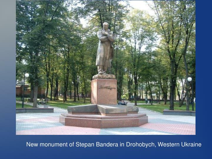 New monument of Stepan Bandera in Drohobych, Western Ukraine
