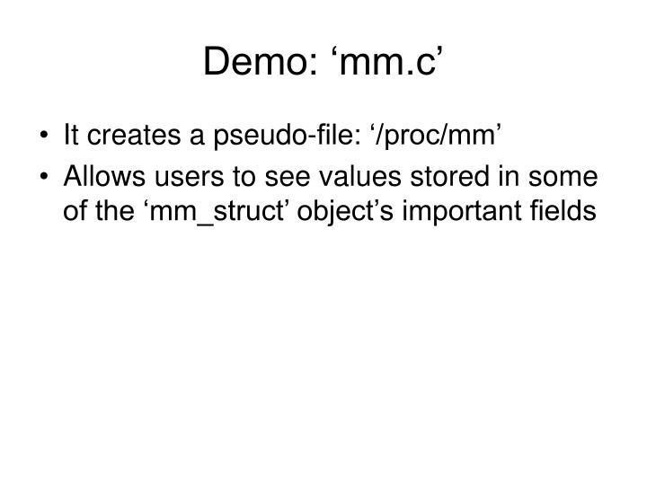 Demo: 'mm.c'