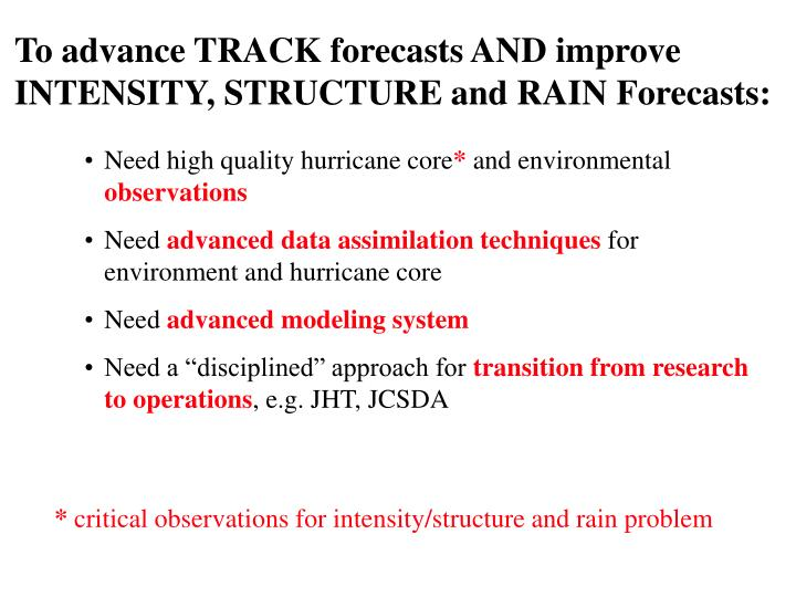 To advance TRACK forecasts AND improve INTENSITY, STRUCTURE and RAIN Forecasts: