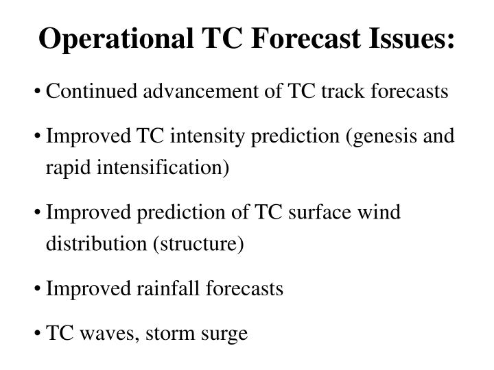 Operational TC Forecast Issues: