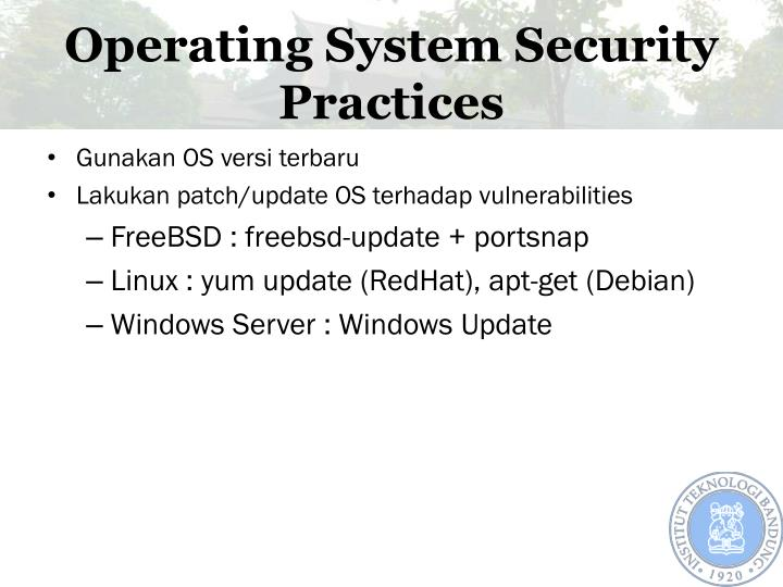 Operating System Security Practices