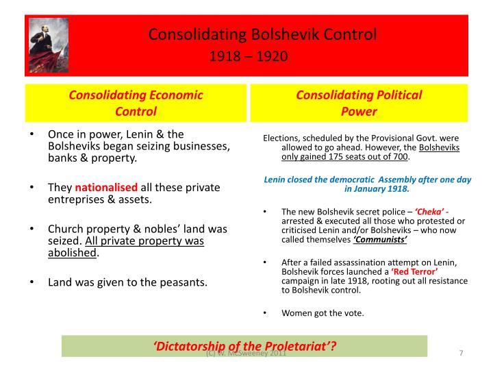 Consolidating Bolshevik Control