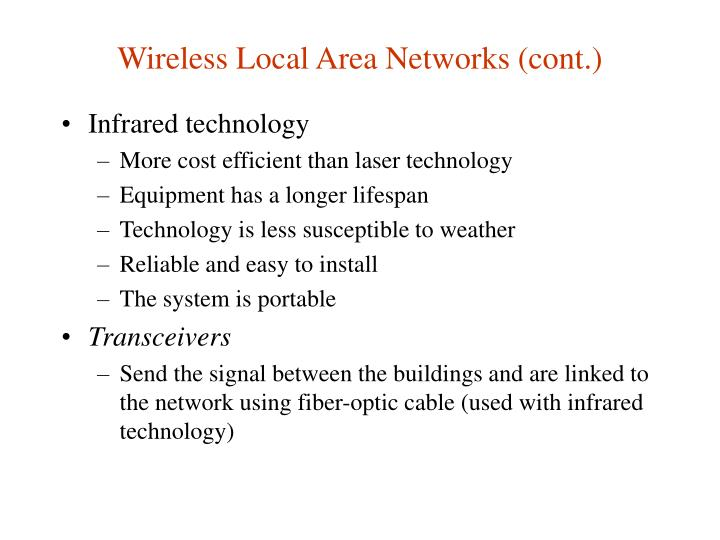 Wireless Local Area Networks (cont.)