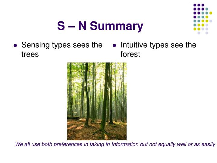 Sensing types sees the trees