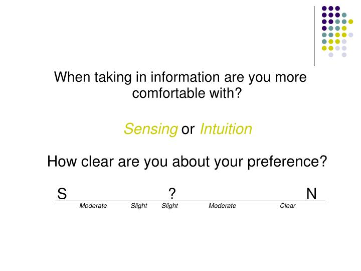 When taking in information are you more comfortable with?