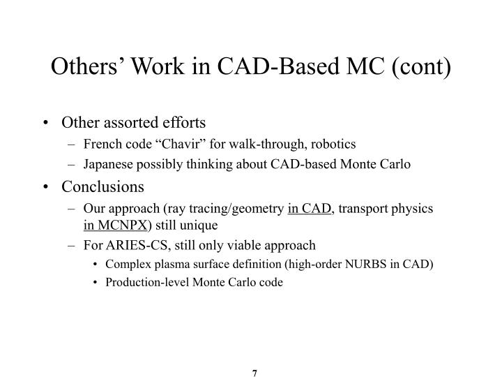 Others' Work in CAD-Based MC (cont)
