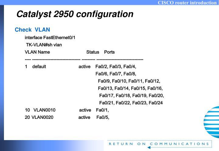 Catalyst 2950 configuration
