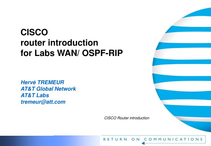 Cisco router introduction for labs wan ospf rip