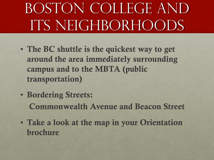 Boston college and its neighborhoods