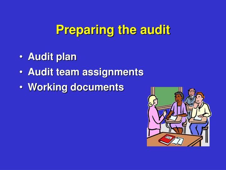 Preparing the audit