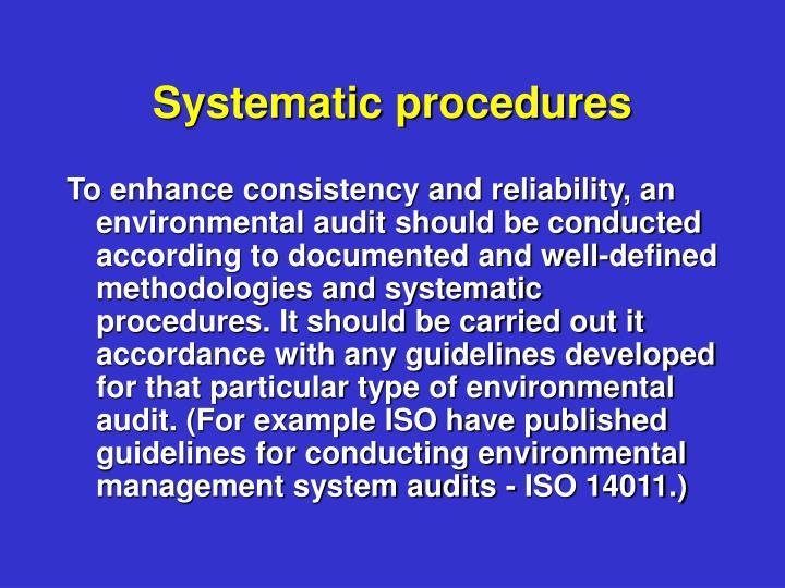 Systematic procedures