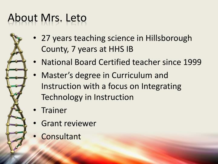 About Mrs. Leto